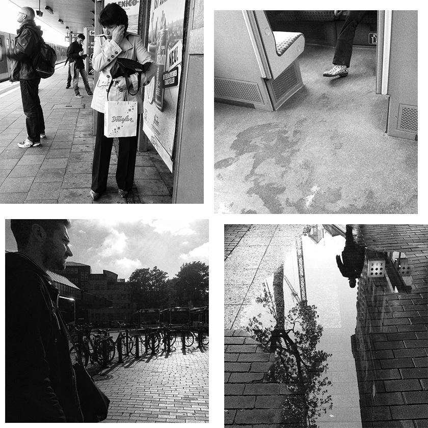 Vier schwarzweiß Instagram Fotos